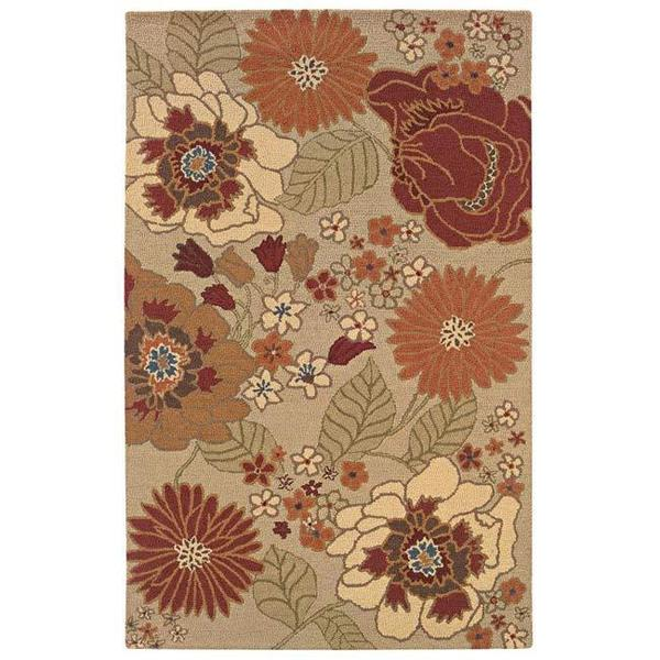 Hand-tufted Beige Contemporary Floral Wool Rug (7'9 x 9'9)