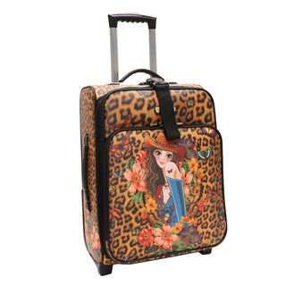 Nicole Lee Cleo Print Collection 20-inch Sandra Camel Carry On Rolling Expandable Upright