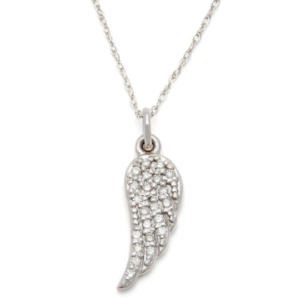 a39d5ec4f Shop 14 karat Gold 1/10ct TDW Diamond Angel Wing Necklace - On Sale ...