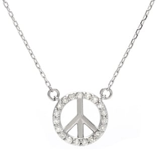 14k White Gold 1/8ct TDW Diamond Peace Necklace