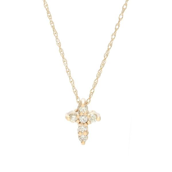 14- karat Gold 1/8ct TDW Diamond Cross Necklace. Opens flyout.