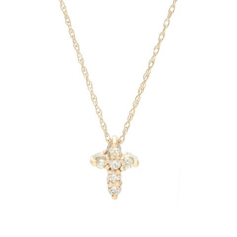 14k Gold 1/8ct TDW Diamond Cross Necklace