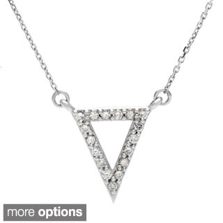 14k Gold 1/6ct TDW Diamond Geometric Triangle Necklace