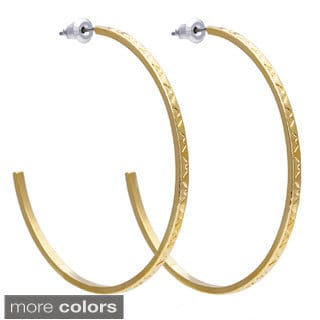 Alexa Starr Thin Etched Design Hoop Earrings