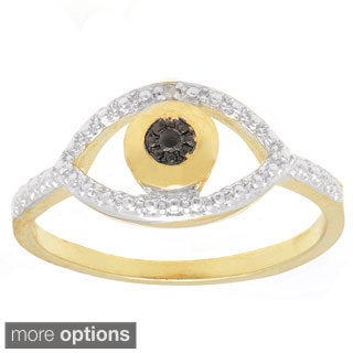 Finesque Gold or Silverplated Black Diamond Accent Evil Eye Ring (Option: Silver Overlay)
