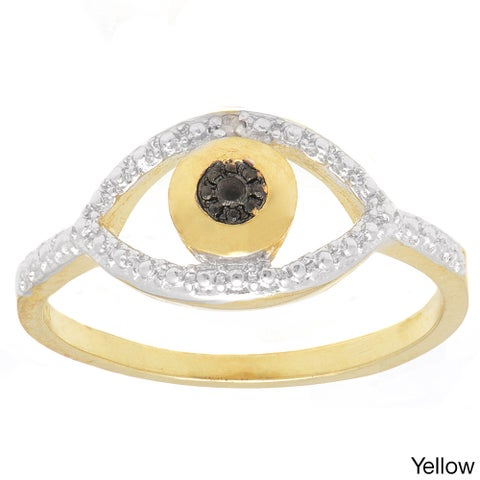 Finesque Gold or Silverplated Black Diamond Accent Evil Eye Ring