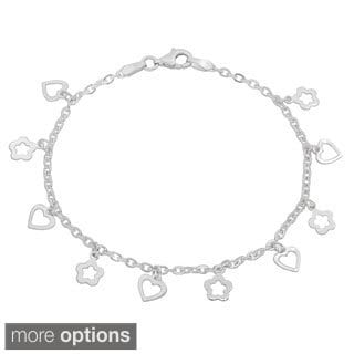 Sterling Essentials Silver 7-inch Hearts and Clovers Bracelet