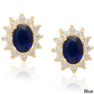 Dolce Giavonna 14k Gold Overlay Simulated Sapphire or Simulated Emerald Stud Earrings (2 options available)