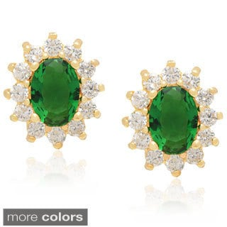 Dolce Giavonna 14k Gold Overlay Simulated Sapphire or Simulated Emerald Stud Earrings