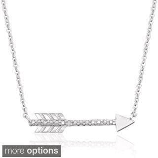 Finesque Gold or Silverplated Diamond Accent Arrow Design Necklace