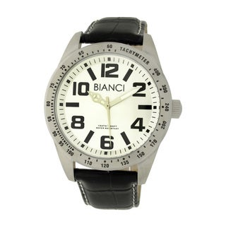Roberto Bianci Men's Classic Silver Dial Black Leather Strap Watch