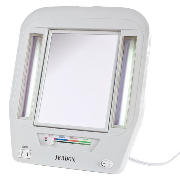 Shop Jerdon White Euro Tabletop Two Sided Lighted Makeup