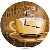 Frothy Cappuccino Round Wood Wall Clock