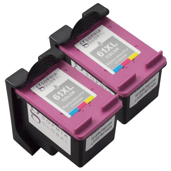 Sophia Global HP 61XL Ink Level Display Remanufactured Color Ink Cartridge Replacement (Pack of 2) -  SG2HP61XLCRESET