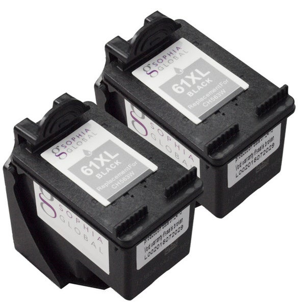 Sophia Global HP 61XL Remanufactured Ink Level Display Black Ink Cartridge Replacement (Pack of 2)