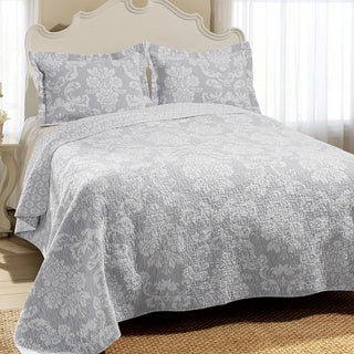 Link to Laura Ashley Venetia Grey Reversible Cotton 3-piece Quilt Set Similar Items in Quilts & Coverlets
