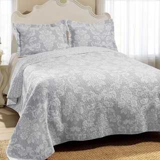 Laura Ashley Venetia Grey Reversible Cotton 3-piece Quilt Set