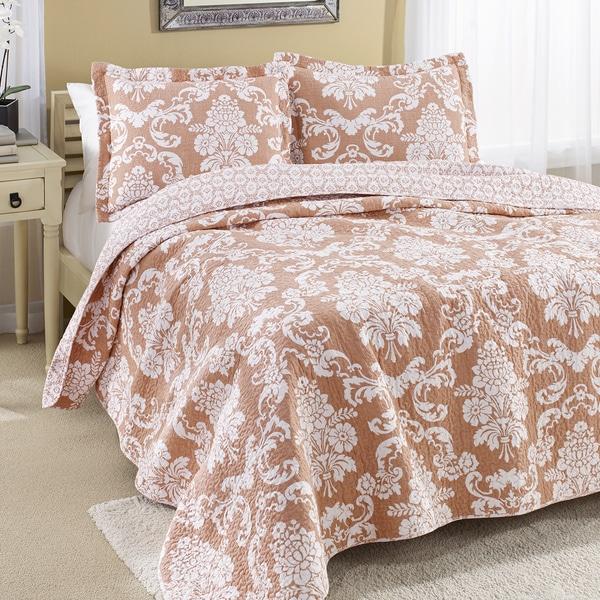 Shop Laura Ashley Venetia Coral Reversible Cotton 3-piece