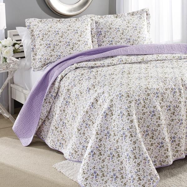 Laura Ashley Spring Bloom Reversible Cotton 3-piece Quilt Set