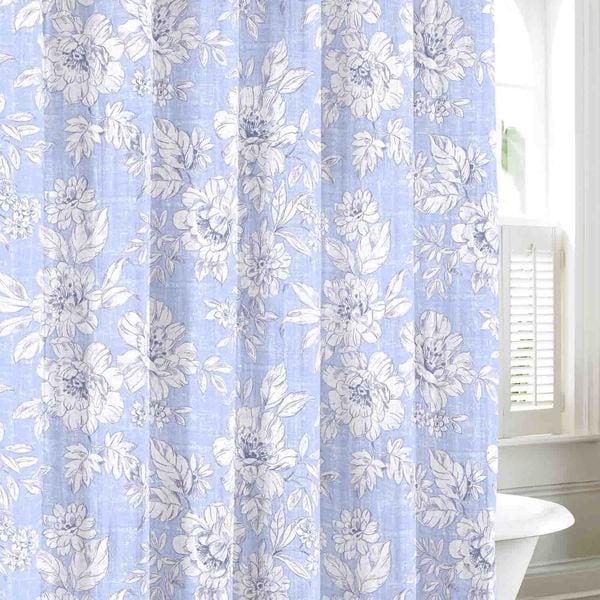 Laura Ashley Iris Sky Cotton Shower Curtain
