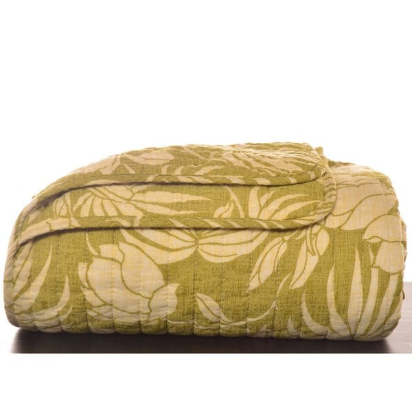 Shop Tommy Bahama Plantation Floral Lime Quilted Throw