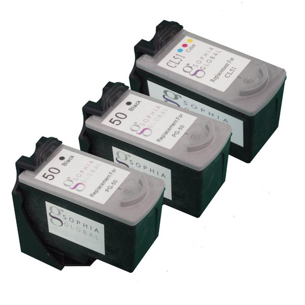 Sophia Global Remanufactured Ink Cartridge Replacement for Canon PG-50 and CL-51 (Pack of 3)