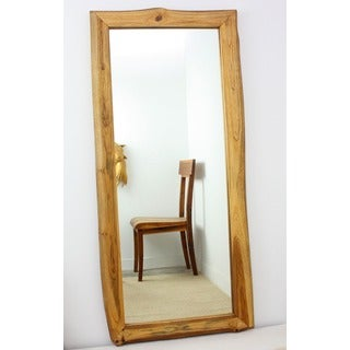 Handmade Golden Oak-finished Teak Wood Full-length Mirror (Thailand)