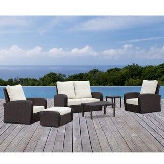Corvus Sarita 6-piece Hand-woven Wicker Outdoor Seating Set with Sunbrella Fabric Cushions