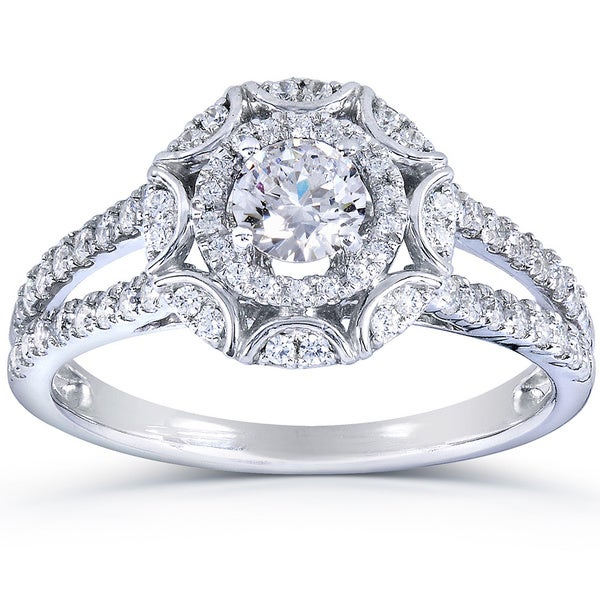 Annello by Kobelli 14k White Gold 1ct TDW Floral Vintage Style Diamond Engagement Ring (H
