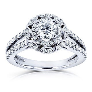 Annello by Kobelli 14k White Gold 1ct TDW Floral Vintage Style Diamond Engagement Ring