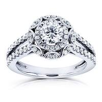 Annello by Kobelli 14k White Gold 1ct TDW Floral Star Vintage Style Diamond Engagement Ring