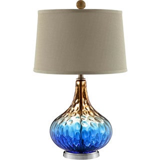 Shelley Glass 1-light Brushed Table Lamp