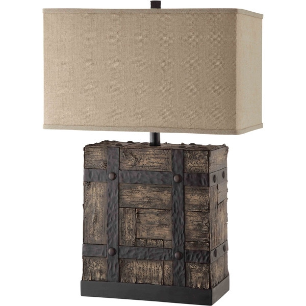 calder 1 light wood and iron table lamp free shipping today 16048955. Black Bedroom Furniture Sets. Home Design Ideas