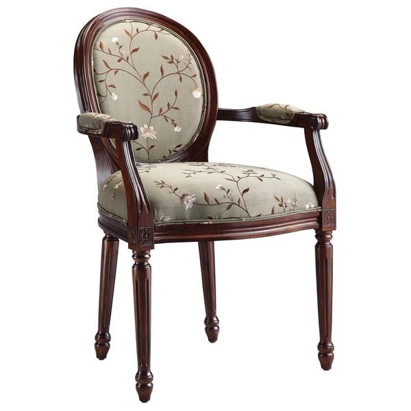 Antoinette Dark Walnut Light Green Upholstered Arm Chair