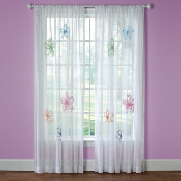 What A Frill 63 Inch Applique Sheer Curtain Panel Free