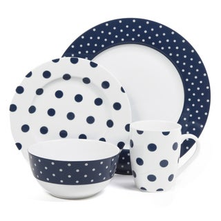 Shop Isaac Mizrahi Dot Luxe Navy Blue 16 Piece Dinnerware