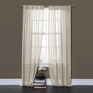 Lush Decor Rhythm Ivory 84 inch Sheer Curtain Panel Pair