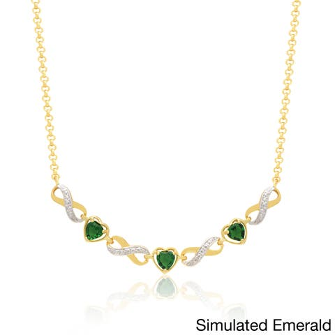 Dolce Giavonna 14k Gold Overlay Emerald or Ruby Glass Necklace