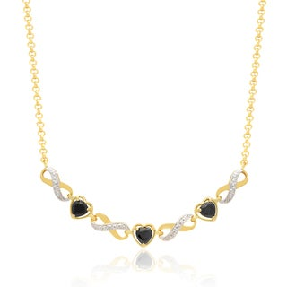 Dolce Giavonna 14k Gold Overlay Sapphire Heart Necklace