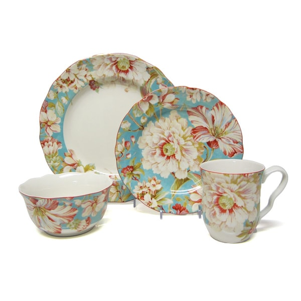 222 Fifth Marley Teal 16-piece Porcelain Dinnerware Set