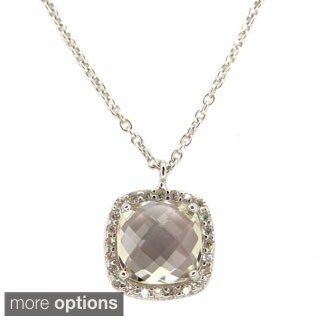 Faceted Cushion-cut Gemstone Cubic Zirconia Halo Necklace
