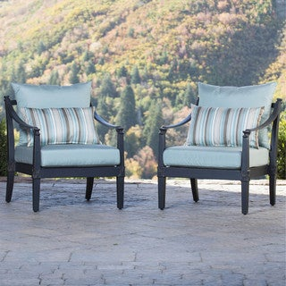 RST Brands Astoria Aluminum Outdoor Club Chairs with Cushions (Set of 2)