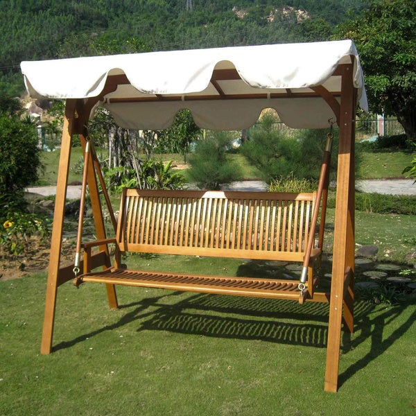 Shop International Caravan Royal Tahiti 3-seater Garden Swing with Canopy - Ivory - On Sale - Free Shipping Today - Overstock - 8814567 & Shop International Caravan Royal Tahiti 3-seater Garden Swing with ...