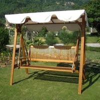 International Caravan Royal Tahiti 3-seater Garden Swing with Canopy - Ivory