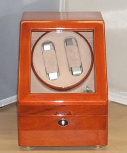 Cherry Double Watch Winder Box for 5 Watches - Thumbnail 2