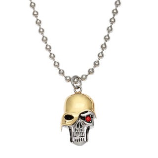 Spikes 316L Stainless Steel Unmasked Skull with Single Red Eye Pendant Necklace