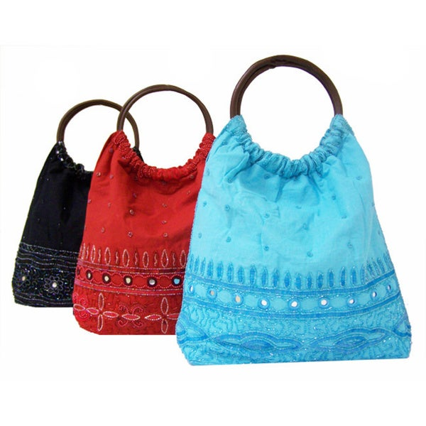 Handmade Indian Beaded Cotton Handbag With Wooden Handles India
