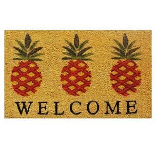 'Pineapple Welcome' Coir/ Vinyl Weather-resistant Doormat (1'5 x 2'5)