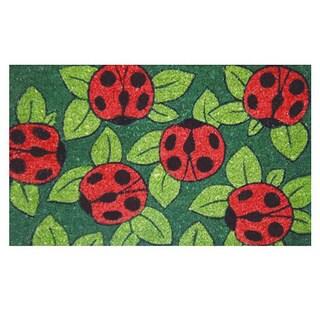 Ladybugs Green Coir Vinyl Backing Doormat (1'5 x 2'5)
