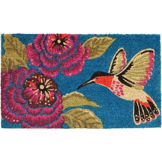 Hummingbird Delight Teal Coir Vinyl Backing Doormat (1'5 x 2'5)